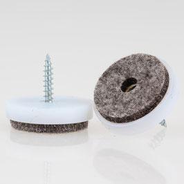 Filzgleiter 28 mm Kunststoff weiß mit Schraube für Holzstühle