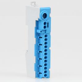 Nullleiter Verteilerklemme N-Klemme N14-S blau 12-polig für Hutschiene