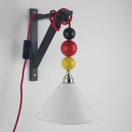 Textilkabel Galgen-Lampe Deutschland mit Holzkugeln E27 Vintage Fassung Lampenschirm weiß