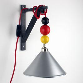 Textilkabel Galgen-Lampe Deutschland mit Holzkugeln E27 Vintage Fassung Lampenschirm silber