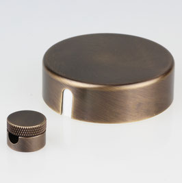 Lampen Abzweig Baldachin 72x22 Metall antik fume mit Zierkappe mit Distanz-Aufhänger