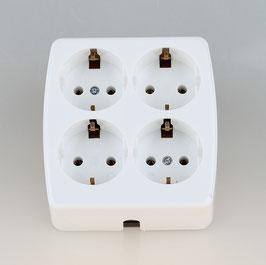 Tischsteckdose Steckdosenleiste weiß 4-fach 250V/16A ohne Kabel mit Zugentlastung für Selbstmontage