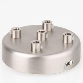 Lampen Metall Baldachin 100x25mm edelstahloptik für 5 Lampenpendel mit Zugentlaster aus Metall
