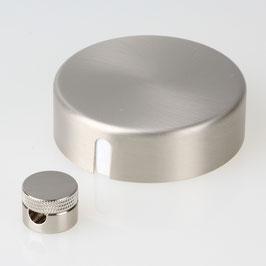 Lampen Abzweig Baldachin 72x22 Metall edelstahloptik mit Zierkappe und Distanz-Aufhänger