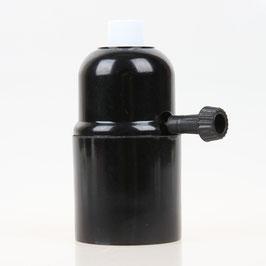 E27 Bakelit Fassung mit Drehschalter Zugentlaster Metall weiß