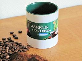 Kaffeebecher weiß/grün