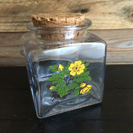 Vintage. Pot en verre avec couvercle en liège motifs fleurs
