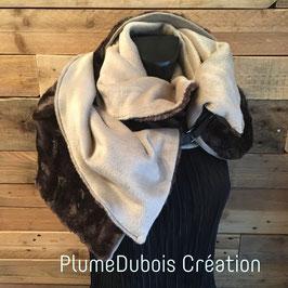 PlumeDubois Création. Maxi col, écharpe, fausse fourrure. Brun/beige