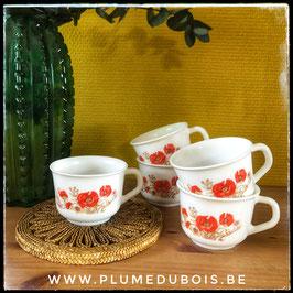 Vintage lot de 5 tasses Arcopal coquelicot