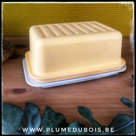 Vintage beurrier Tupperware jaune/écru