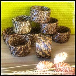 Lot de 8 ronds de serviette en osier, rotin