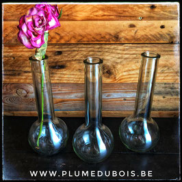 Lot de 3 soliflores en verre