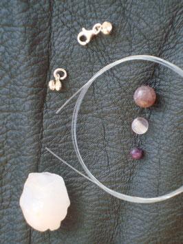 Kreativ Set Halskette / Armband Quarz, Fluorit