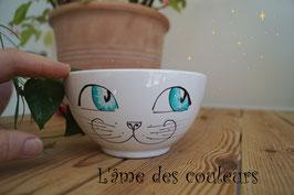 Bol chat grand modèle yeux et étoiles de couleur bleu