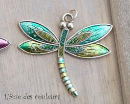 1 Breloque pendentif grande libellule couleur bleu N° 2
