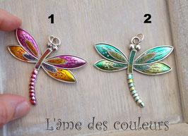 1 Breloque pendentif grande  libellule rose N° 1