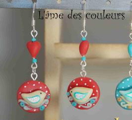 Boucles d'oreilles oiseaux et cœurs en porcelaine froide rouges