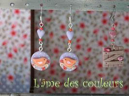 Boucles d'oreilles oiseaux en porcelaine froide couleur parme