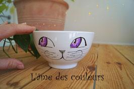 Bol chat grand modèle yeux et étoiles de couleur violet