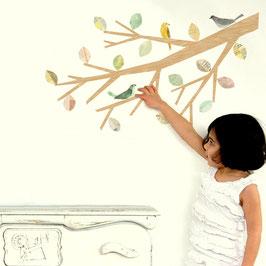 Neutral Bird and Branch Wall Decal-Wall Sticker