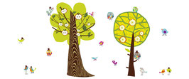 Trees a Pair with Tweetie Birdies Wall Decal-Wall Sticker