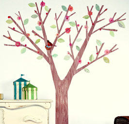 Pink Blossom Tree and Bird Wall Decal-Wall Sticker