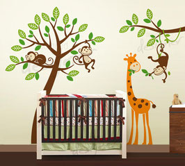 Jungle Tree with Monkeys and Giraffe Wall Decal-Wall Sticker