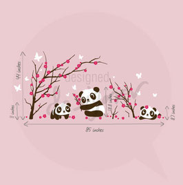6 Panda In Cherry Blossom Leafy Dreams Nursery Decals