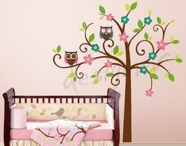 Swirly Tree With Owls Wall Decal-Wall Sticker
