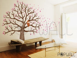Owl on Blossom Tree Wall Decal-Wall Sticker