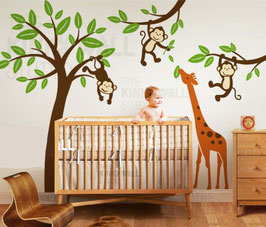 Jungle Tree with Monkeys and Stretching Giraffe Wall Decal-Wall Sticker