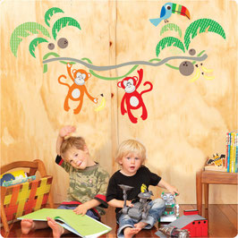 Jungle Canopy and Monkeys Wall Decal-Wall Sticker by Cocoon Couture