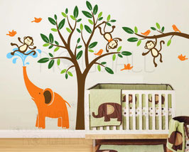 Elephant and Three Monkeys Tree Wall Decal-Wall Sticker