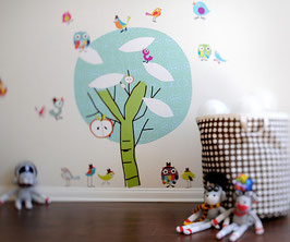 Chirpie Tree and Tweetie Birdies Wall Decal-Wall Sticker