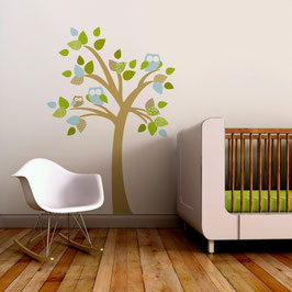 Tree with Family of Owls Wall Decal-Wall Sticker