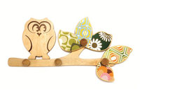 Wooden Wall Hooks by Cocoon Couture - Sleepy Owl or Early Bird
