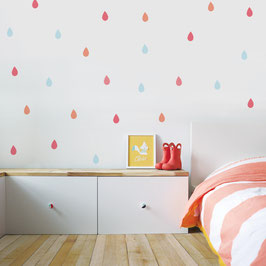 Pastel Raindrops Wall Decal-Wall Sticker