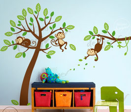 Three Monkeys Up a Tree Wall Decal-Wall Sticker