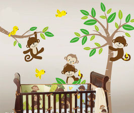 Curly-tailed Monkeys in a Tree Wall Decal-Wall Sticker