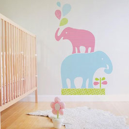 Stacked Elephants Wall Decal-Wall Sticker