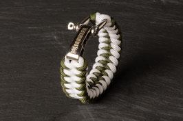 Paracord Armband White / Oliv