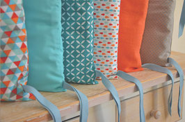 Tour de lit 6 coussins déhoussables, orange menthe eau