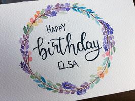Happy Birthday - Blumenkranz - personalisierbar
