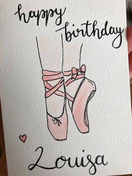 Happy Birthday - Ballettschuh - personalisierbar