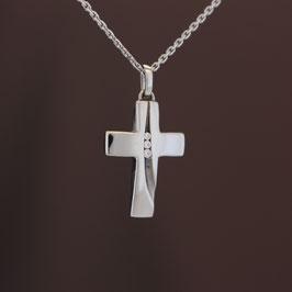 """Anhänger """"Kreuz"""" aus rhodiniertem 925-Sterlingsilber und Zirkonia"""
