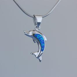 """Anhänger """"Delfin"""" aus rhodiniertem 925-Sterlingsilber und synthetischem Opal"""