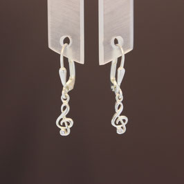 "Ohrhänger ""Notenschlüssel"" aus 925-Sterlingsilber und Zirkonia"