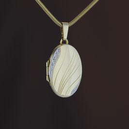 "Anhänger ""Medaillon"" aus 333-Gelbgold mit teilweiser Weißvergoldung"