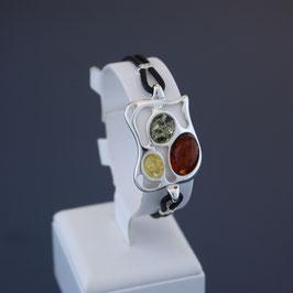 Armband aus 925-Sterlingsilber, Kautschuk und baltischen Bernsteinen