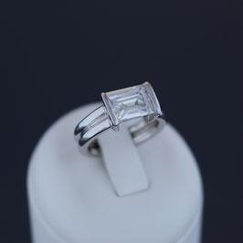 Ring aus rhodiniertem 925-Sterlingsilber und Zirkonia